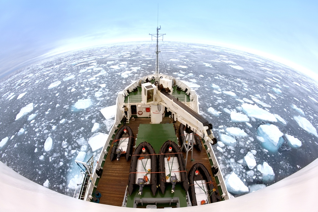 Fish Eye Lens View Of Sea Ice Off The Coast Spitsbergen Svalbard Islands