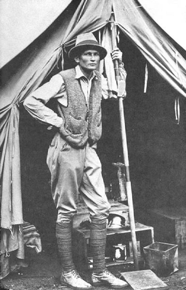 Hiram Bingham at the campsite during the expedition.  Image Credits: wikipedia.org