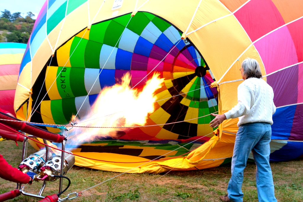 A hot air balloon being inflated!
