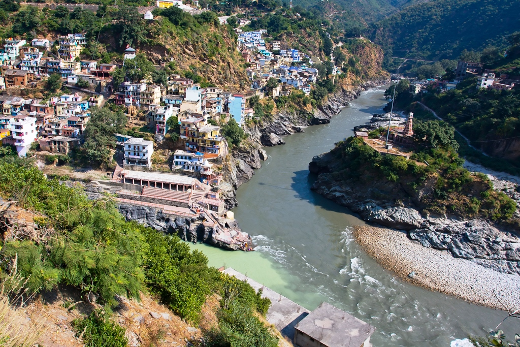 Alaknanda and Bhagirathi Rivers Confluence at Devprayag