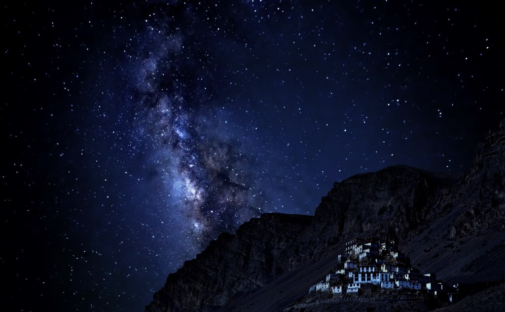 The majestic Key Monastery with the magical views of the stars in the background