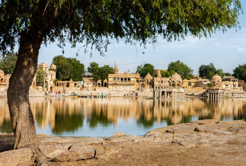 Gadisar Lake in Jaisalmer with cenotaphs in the backdrop