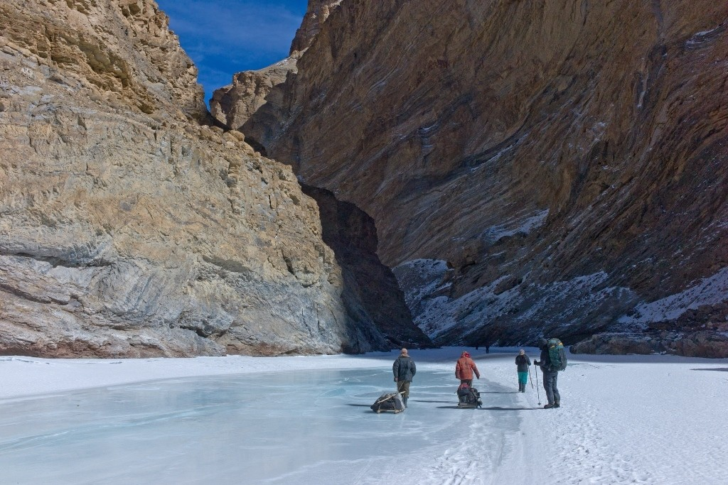 Walking on the frozen Zanskar River