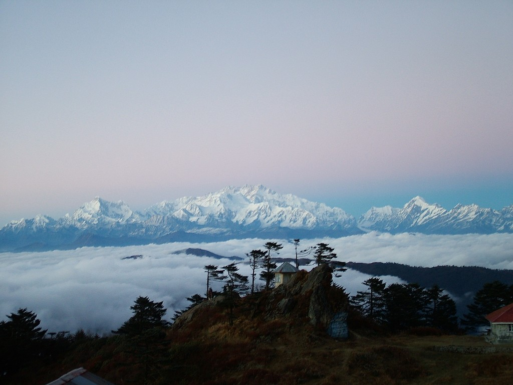 Sleeping Buddha or Kanchenjunga Massif, as seen from Sandakphu Trek