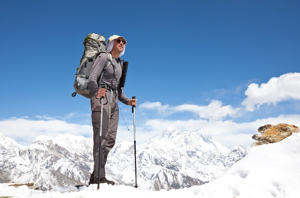 Backpack, anti-glare glasses, trekking poles! Pack it all!