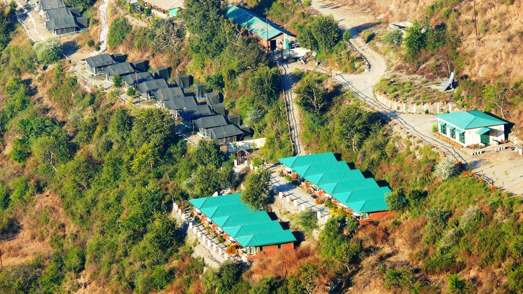 Aerial view of the campsite at Viratkhai