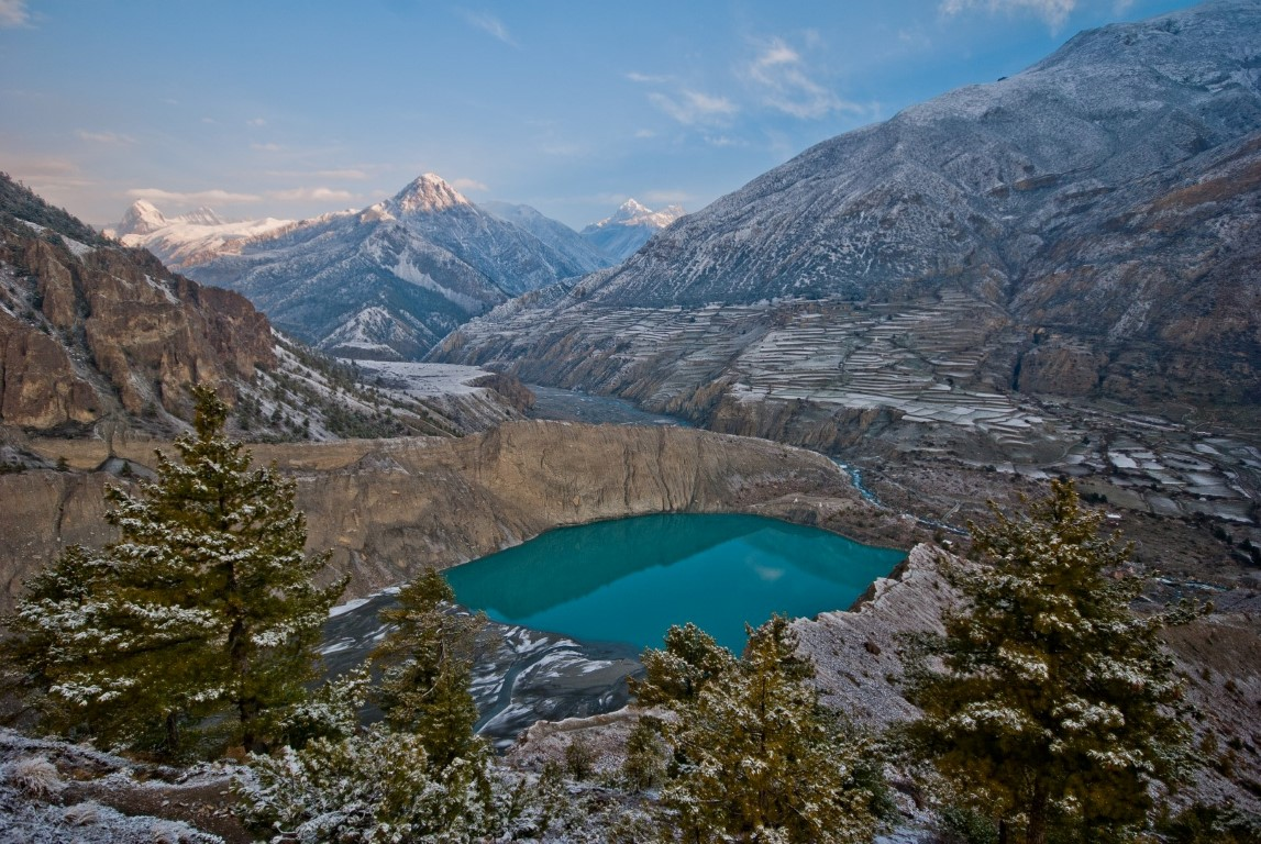 Lake Gangapurna (3500 m) is one of the most amazing places. Just half hour away from Manang, you can reach the lake on the 5th day of Annapurna Circuit trek.