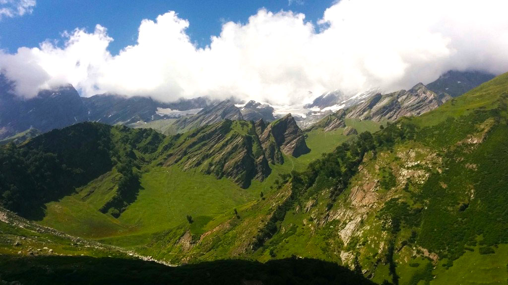 Beautiful verdant mountains as you make your way on the Beas Kund Trek