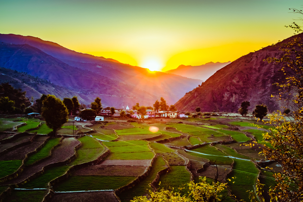 A beautiful high-angle shot of Pantwari village