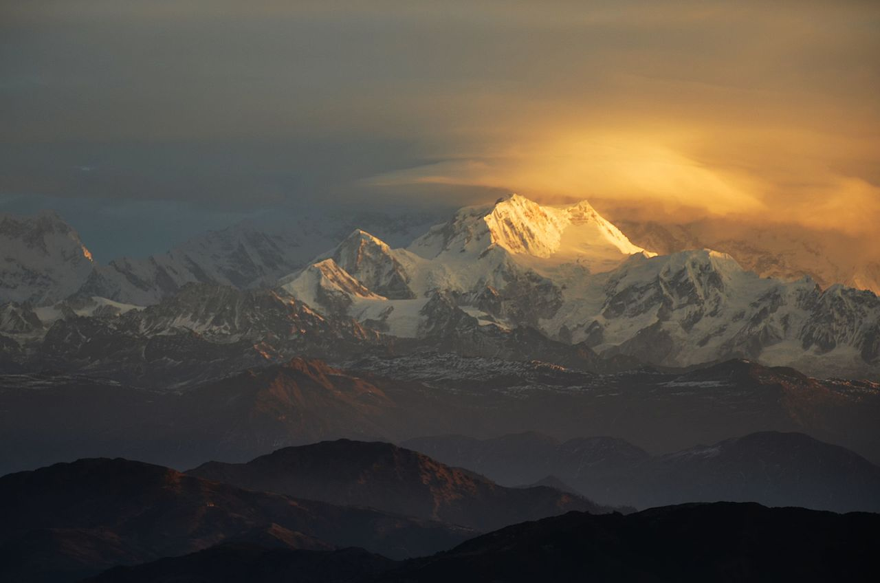 Early morning sun rising from Mt. Kanchenjunga