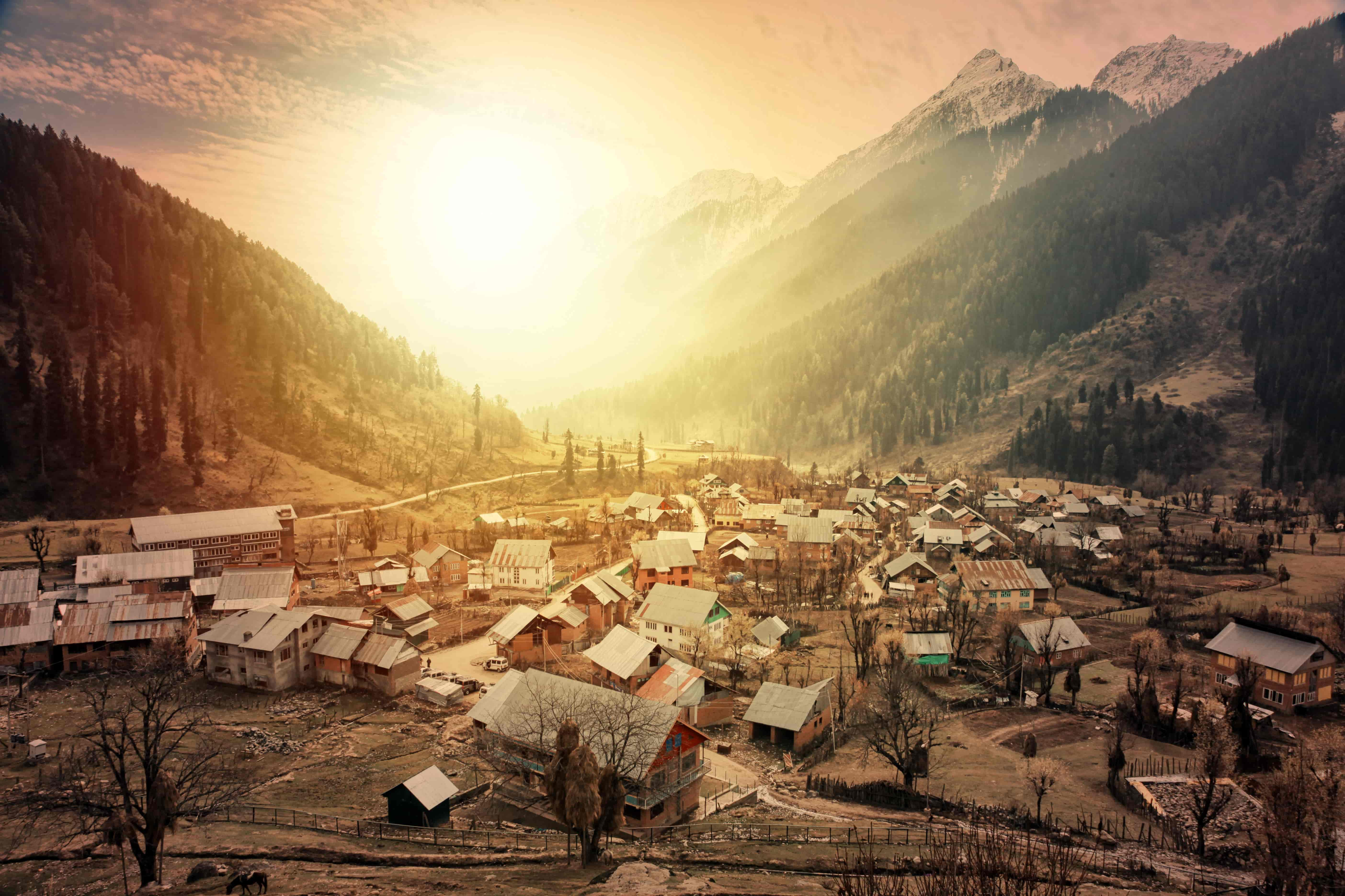 Morning view of a town at Aru Valley near Pahalgam