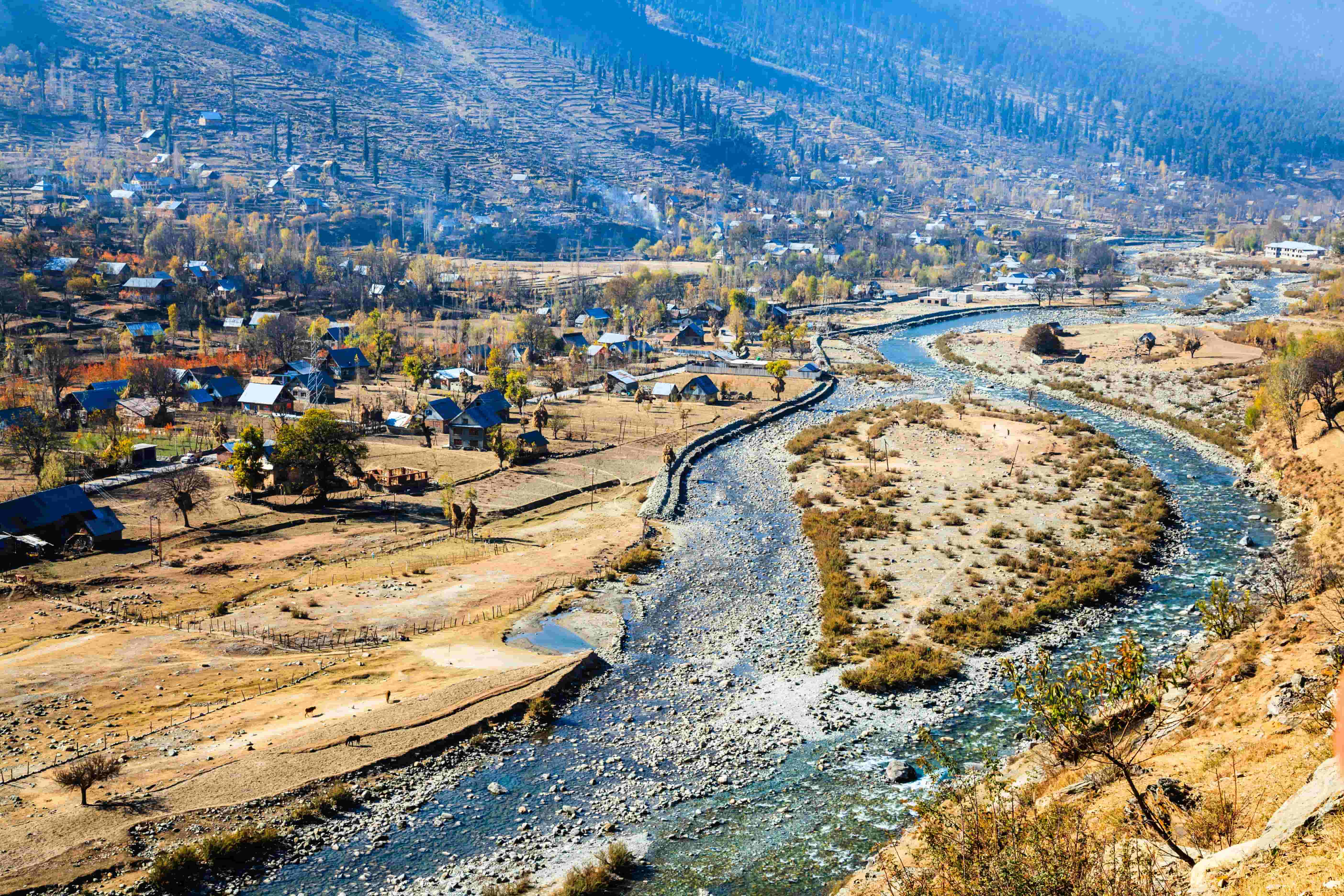 High-angle shot of Sonmarg village